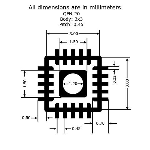 QFN-20 - 3x3 - P0.45 to DIP Adapter - Land Pattern
