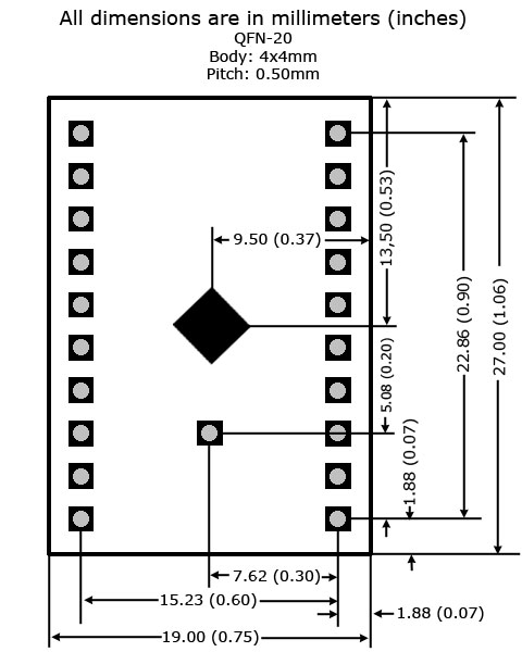 QFN-20 to DIP Adapter (4mm x 4mm - P0.50mm) - Board Dimensions