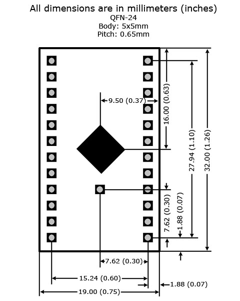 QFN-24 - 5x5 - P0.65 to DIP Adapter - Board Dimensions