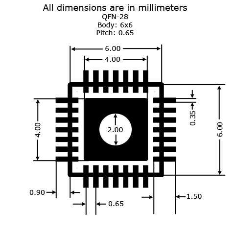 QFN-28 to DIP Adapter (6mm x 6mm - P0.65) - Land Pattern