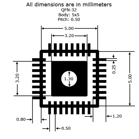 QFN-32 to DIP Adapter (5mm x 5mm - P0.50mm) - Land Pattern Dimensions