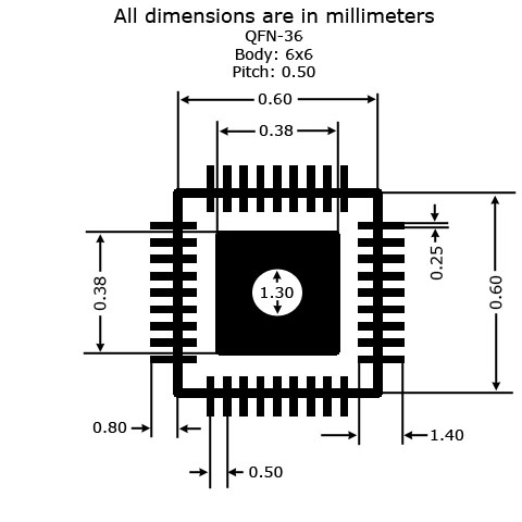 QFN-36 to DIP Adapter - Land Pattern Dimensions