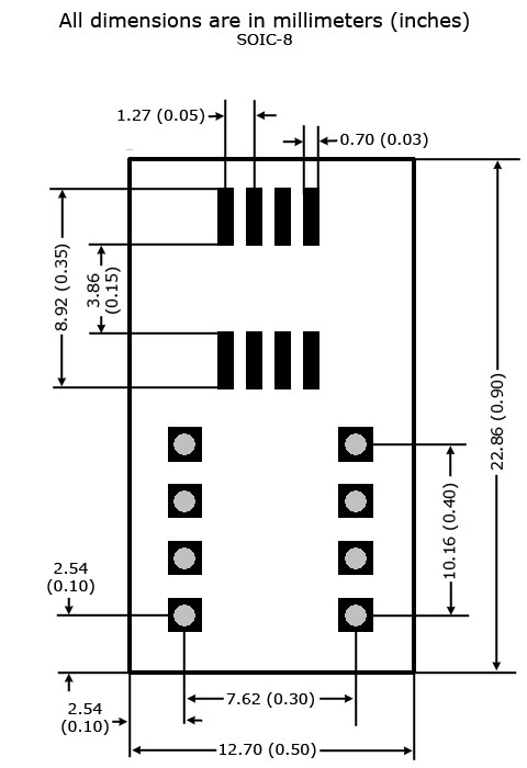 SOIC-8 to DIP Adapter - Board and Land Patternd Dimensions
