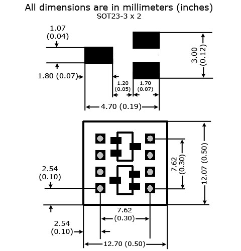 SOT23-3 (x2) to DIP Adapter - Board and Land Pattern Dimensions