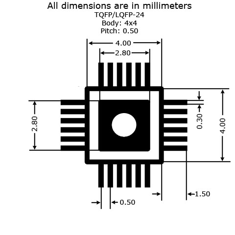TQFP-24/LQFP-24 to DIP Adapter (4mm x 4mm - P0.50) - Land Pattern Dimensions