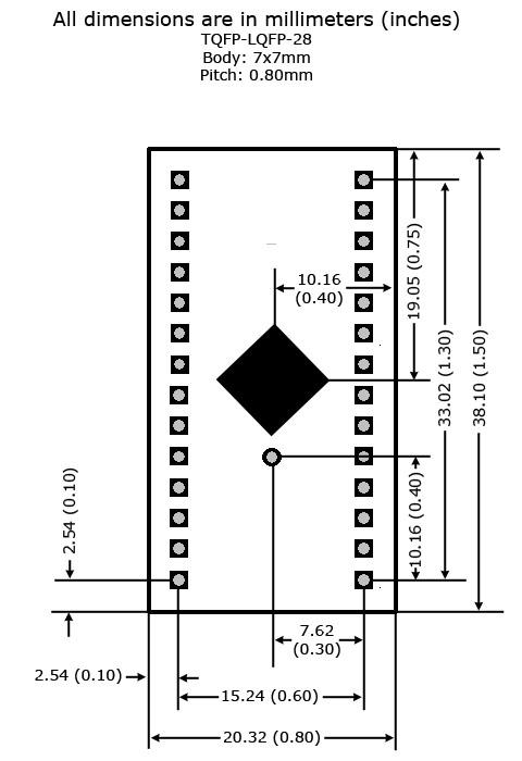 TQFP-28 to DIP Adapter - Board Dimensions