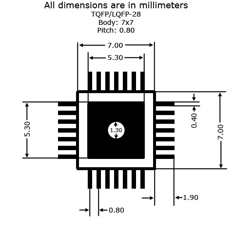 TQFP-28 to DIP Adapter - Land Pattern Dimensions