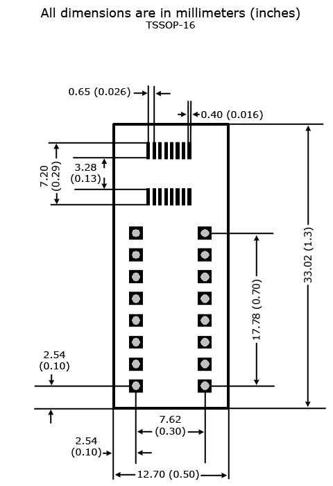 TSSOP-16 to DIP Adapter - Board and Land Pattern Dimensions
