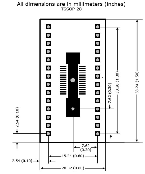 TSSOP-28 to DIP Adapter - Board Dimensions