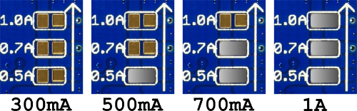 AK-LED-DRIVER output current selection pads