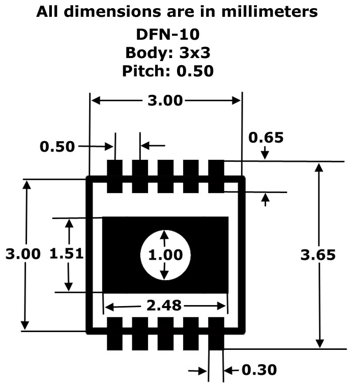 DFN-10 to DIP Adapter (3mm x 3mm - P0.50) Pack of 4