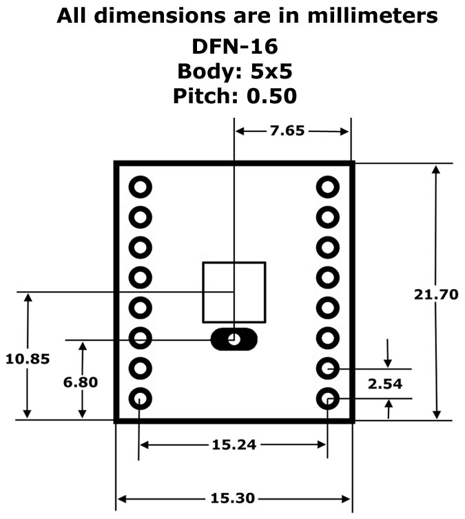 DFN-16 to DIP Adapter (5mm x 5mm - P0.50) Pack of 2