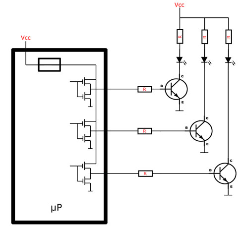 LEDs through NPN transistors
