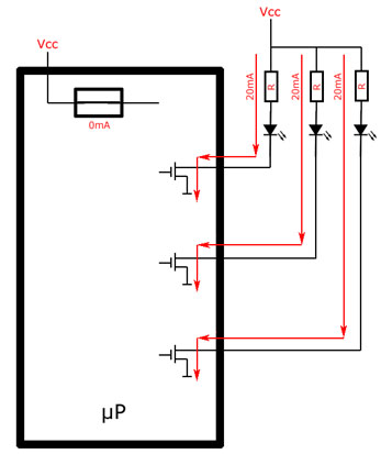 LEDs in open-drain configuration