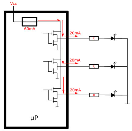 LEDs in push-pull configuration