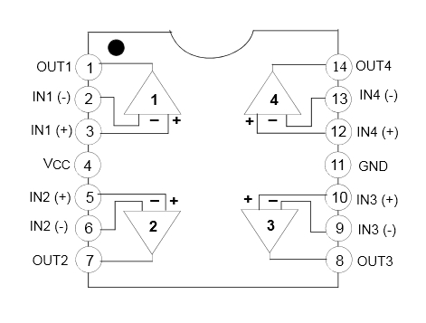 LM324N - Quad Operational Amplifier - Diagram