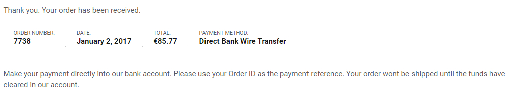 Direct Bank Wire Transfer